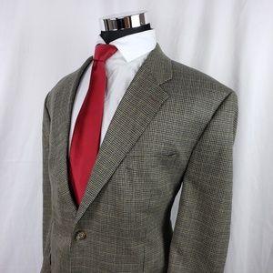 Chaps Mens 48R Blazer Silk Blend Houndstooth Brown